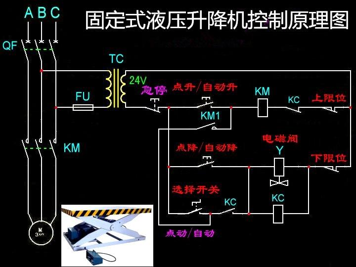 星翼为您介绍固定式液压升降机控制原理图图片